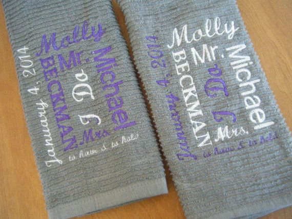 Personalized Kitchen Towel  Wedding Gift  Bridal by Crafting4Caleb, $16.25