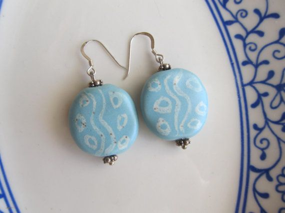 Turquoise colored ceramic bead earrings