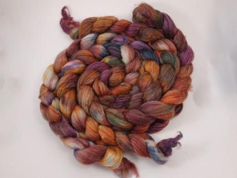 Corriedale, Yak, Rose, Hand Dyed- Variegated,  Combed Top, 100g