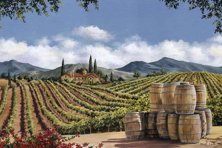 """Oak Barrels"" The opportunity to catch the wine barrels stacked by the vineyard inspired this painting of Leoness Vineyards, Temecula CA. fineartbymonti.com"