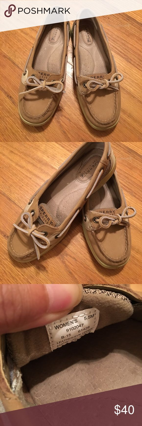 Women's sperry angelfish Like new, hardly any signs of wear. Size 5.5 but fit like a women's 6 (since they have to be a bit tighter to not slip off each step). Quality is shown in the price, but still willing to take offers. Sperry Shoes Flats & Loafers