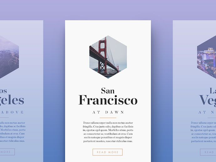 Another example of a card ui. I like the sophisticated typefaces, the hexagon, and use of the rule.
