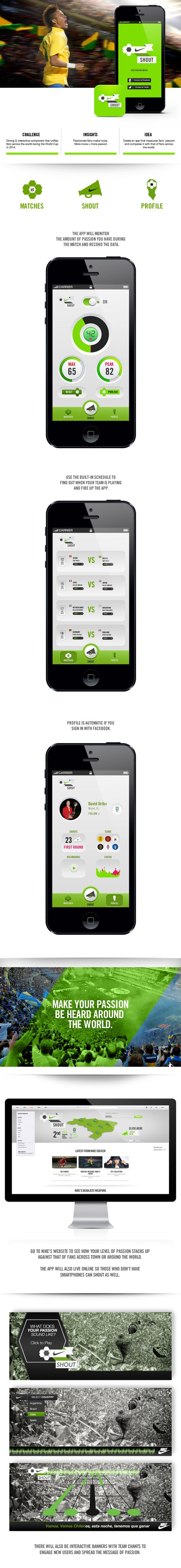 NIKE SHOUT by Andres Schiling, via Behance *** Mobile app that measures fans' passion and compares it with that of fans across the world.