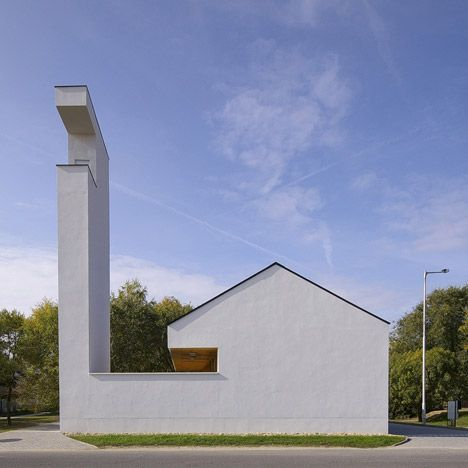 Lovely Church Congregation Hall By SAGRA Architects Features A Towering White  Belfry