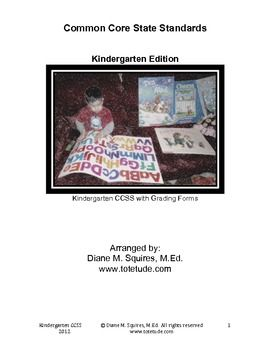 Common Core State Standards Assessment - Kindergarten Edition $5.00  -Totetude.com