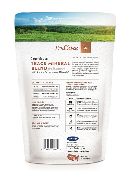 A prize blend for your prize animals   Backed by more than 45 years of research and built on a unique, patented metal amino acid complex, TruCare® supplements support balanced animal nutrition with a prize blend of organic, essential trace minerals tailored to your animal's needs.