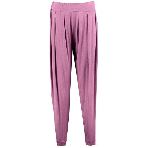Boohoo India Pleat Front Jersey Hareem Trouser | Boohoo ($14) ❤ liked on Polyvore featuring pants, tapered pants, palazzo pants, stretch waist pants, wide-leg pants and sport jerseys