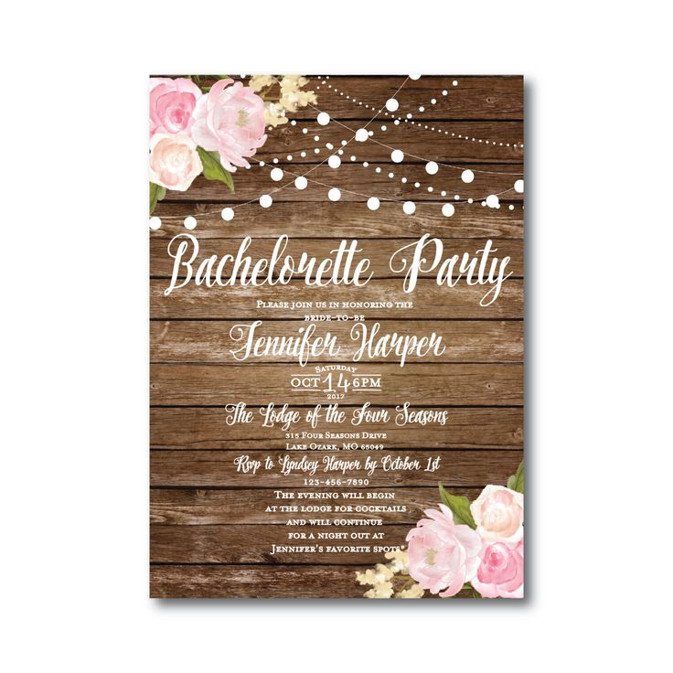 Rustic Bachelorette Party Invitation - Country Chic - Hanging Lights - Floral Wedding - Rustic Wedding - Printable Wedding Invitation by ClearyLaneWeddings on Etsy https://www.etsy.com/listing/248238960/rustic-bachelorette-party-invitation