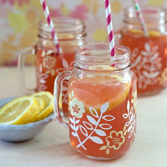 Hand-Painted Mason Jar Mugs - a fun and easy craft project and great gift or favor idea.