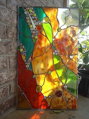 Abstract Stained Glass Transom Window Contemporary Nuggets Suncatcher Panel | eBay