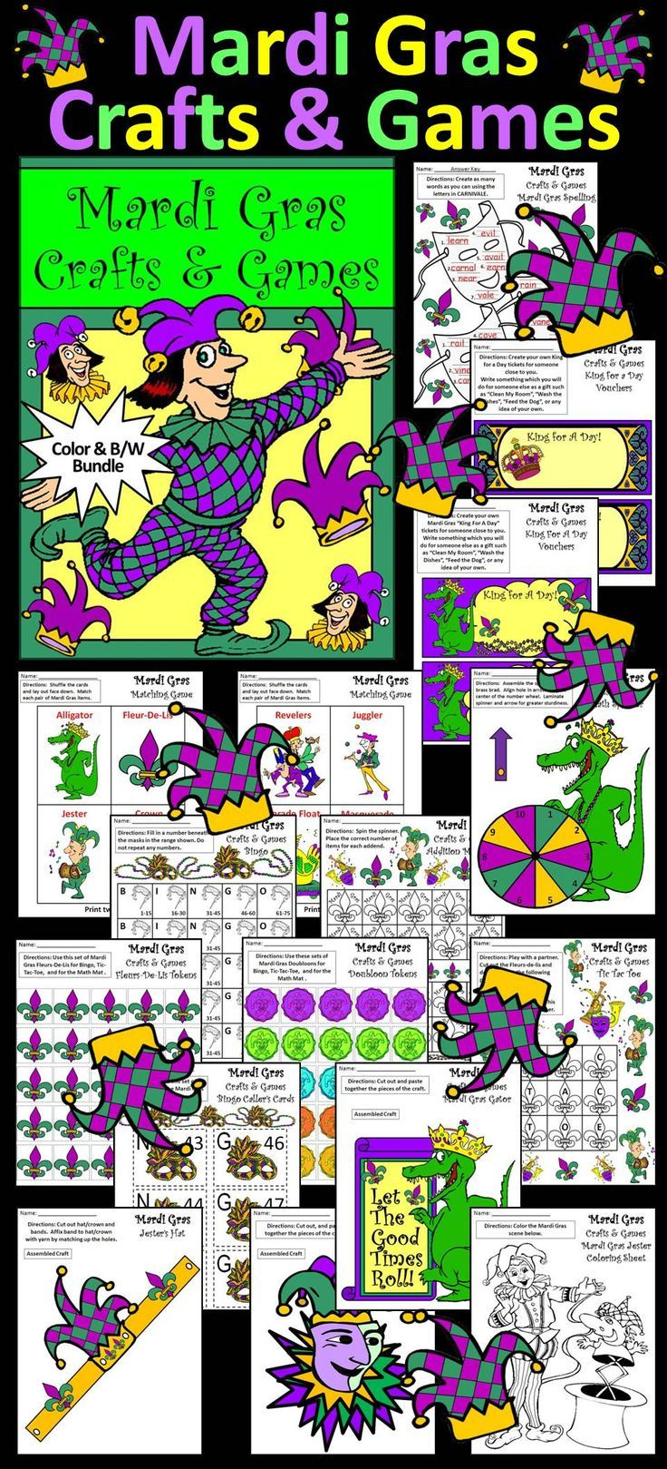 "Mardi Gras Crafts & Games Activity Packet: Contents include: * Spelling Activities * Matching Card Game * Alligator Math Spinner * Addition Math Mat * Tic Tac Toe Board * ""Create Your Own"" Bingo Board * Fleurs-De-Lis Counters * Doubloons Counters  * Bingo Caller's Cards * Construction Crafts (Alligator, Jester, Jester's Hat, King's Crown, Queen's Tiara) * King for a Day Coupons * Coloring Sheets  #Mardi #Gras #Crafts #Games #Activities #Teacherspayteachers"