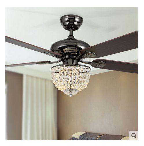 For the eating area - 52inch LED chandelier fan light modern new crystal chandelier fan restaurant fashion crystal fan light with remote control fan