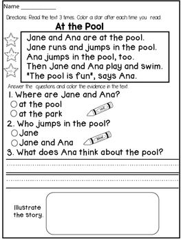 """First Grade Reading Comprehension and Fluency Passages ( FICTION) :This product contains 12 FICTIONAL reading passages that target both reading FLUENCY and COMPREHENSION.The students will have to:* read the text 3 times and color a star after each reading (for fluency)* answer 2 multiple choice questions and color the evidence in the text ( I usually help my students by asking : """" Can you find the words in the text that answer this question?"""