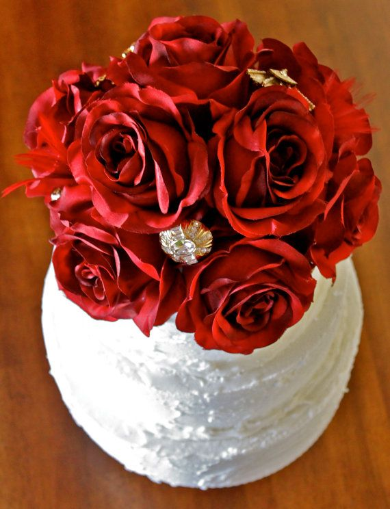 gorgeous red faux flower bouquet (by my sweet addiction jls)