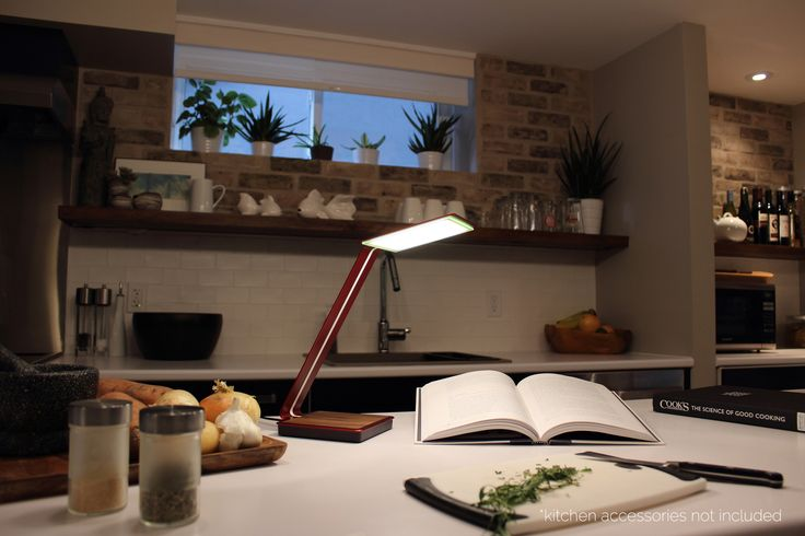 Aerelight A1 OLED Desk Lamp with Touch Control and Wireless Charging - Brushed Red in Kitchen