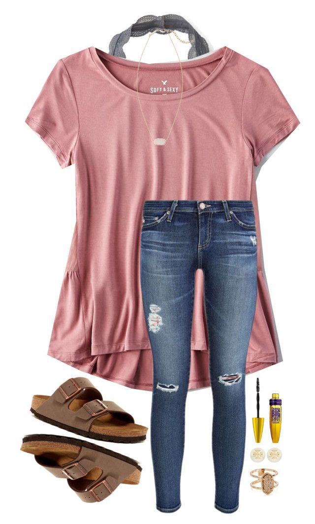 """Beauty & the Beast is so good!"" by southernsophia ❤ liked on Polyvore featuring Aéropostale, American Eagle Outfitters, AG Adriano Goldschmied, Birkenstock, Maybelline, Kendra Scott and Tory Burch"