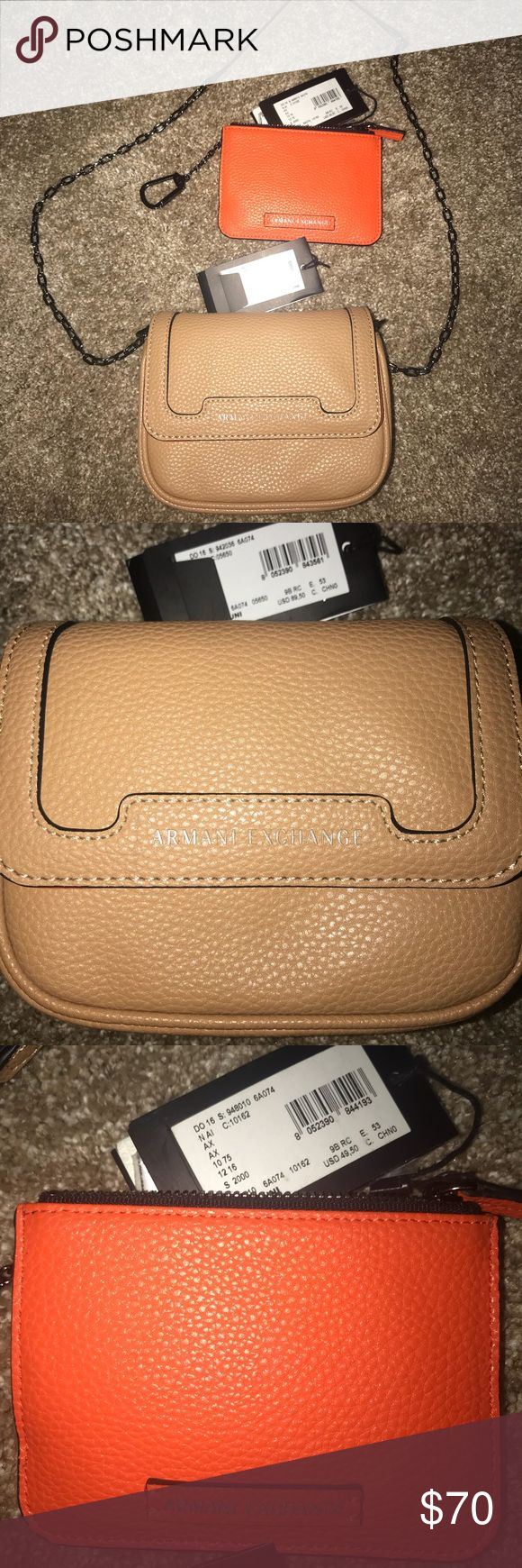 Armani Exchange mini crossbody+matching coin purse NWT Armani exchange mini crossbody tan colored pebble leather with orange interior, original price $89.50 and NWT matching coin purse orange color, original price $49.50, PRICE REFLECTS BOTH ITEMS SOLD TOGETHER Armani Exchange Bags Crossbody Bags