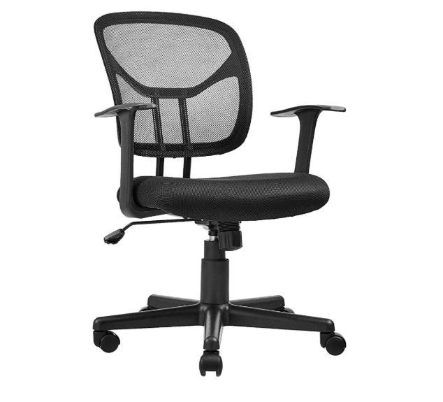Amazonbasics Mid Back Desk Office Chair With Armrests Mesh Back Swivels Black Bifma Certified Cutegiftideas Gift Officechair Chair Office Chair Office