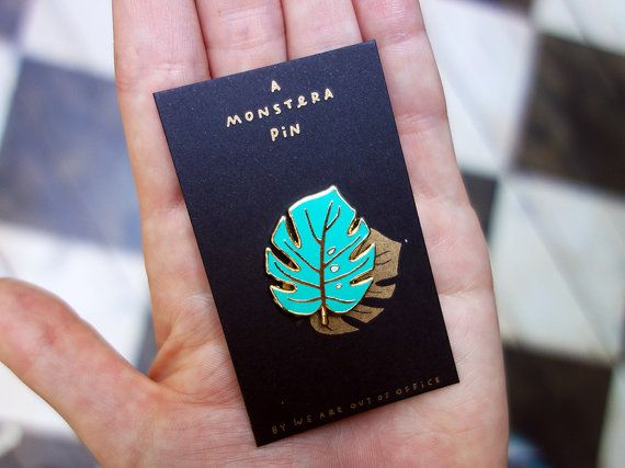 A Monstera enamel pin  Enamel pin for all occasions. Comes on a small riso printed card. Great to wear to a party, while shopping, to a wedding