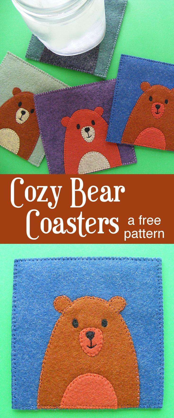 Felt Craft - free bear coaster pattern