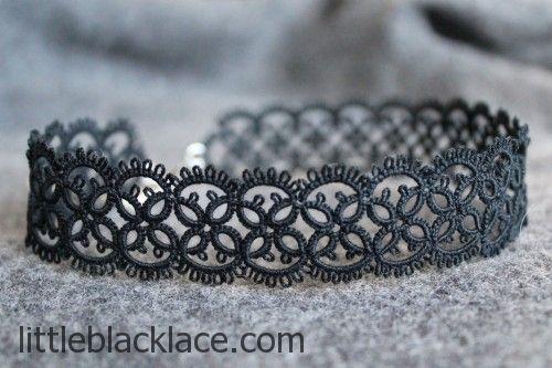 Handmade black lace chocker necklace