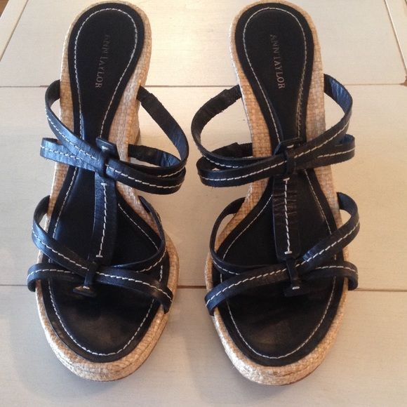 "Ann Taylor black & beige espadrille platforms 8.5 Gently used Ann Taylor platforms with black leather with cream accent stitching & espadrille platform detail.  Size 8.5.  Only worn a couple of time, these are in excellent shape.  4"" heel. Ann Taylor Shoes Platforms"