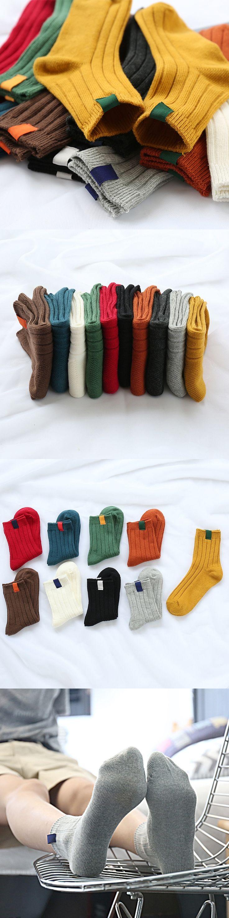 Unisex Kids Big Boys Girls School Popular Socks 5 Pairs 100% Cotton Solid Warm chaussette enfant