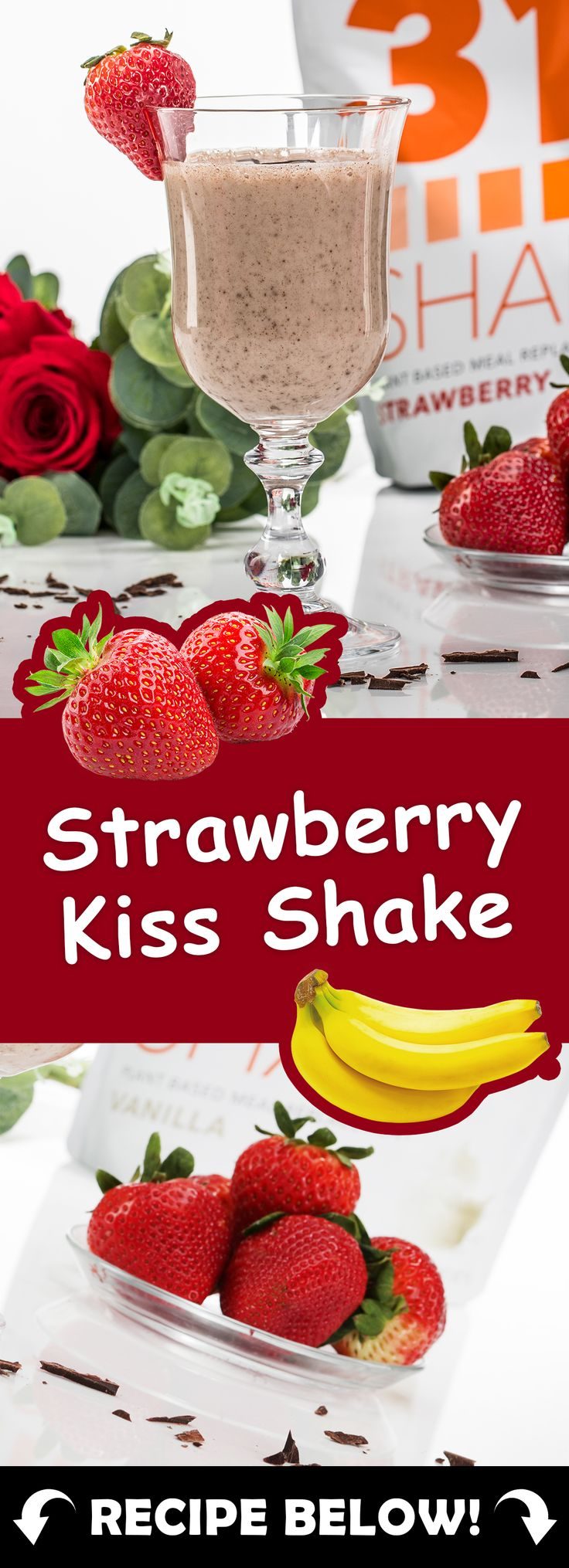 1 cup unsweetened vanilla almond milk, 1 scoop of 310 Shake Strawberry, 3 frozen strawberries, 1/4 medium banana, 1/2 tbsp 85% dark chocolate cacao nibs, 1 tbsp almond butter, dark chocolate shavings (optional) & Blend! :: Look for top meal replacement shakes to use in the recipe by visiting the link! ::