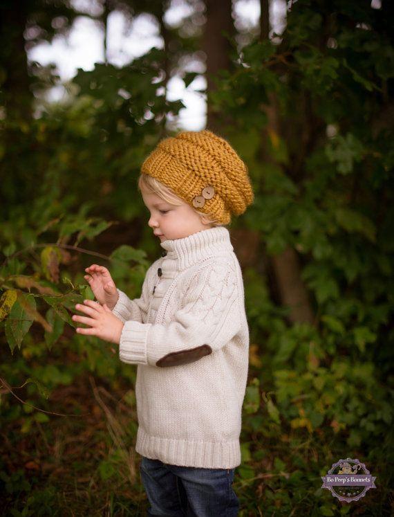 Enfant en bas âge garçons ample chapeau jaune moutarde ou