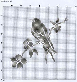 Simple bird and flower cross stitch chart