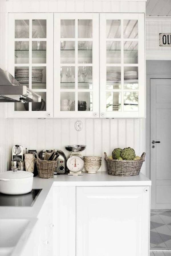 White kitchen. The stunning home of Mari Strengheilm Nord on an island outside Stockholm / Lina Östling.