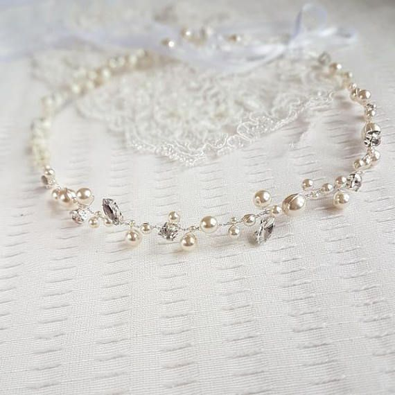 Wedding pearl headband Ecru Pearl Hair Piece Bridal