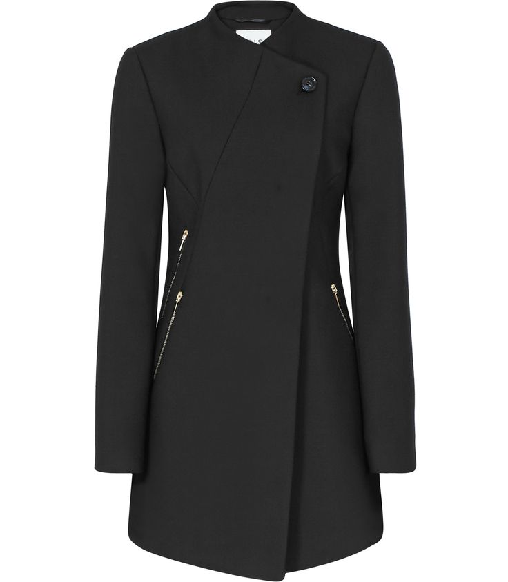 Womens Black Sharply Tailored Coat - Reiss Candy