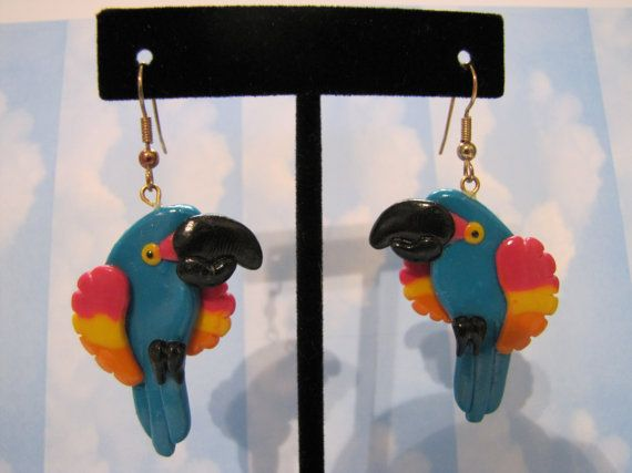 Vintage 1980s Bright Colourful Parrots Earrings by themagickcat