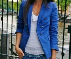 : Light Pink Blazers, Cobalt Blue, Dresses, Outfit, Jackets, Colors Blazers, Buttons, Bright Colors, Royals Blue Blazers