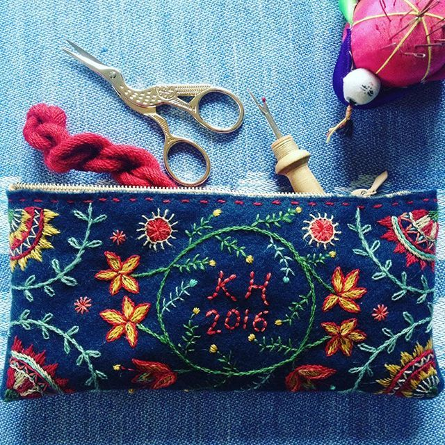Embroidered sewing pouch. Could be a pencil case, too!