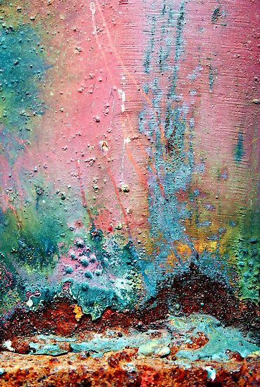 M - Love the colours in this!Abstract Macro Photography – Landscapes  This is a very close up photorgraph of an old, rusting, decaying, weld attached to a steel, metal fence.  Water Lane  City Centre  Leeds  i can see so many different scenes here i start tripping out…  bottom left – a sheperd with a flock of sheep to his upper right and two childern playing to his left