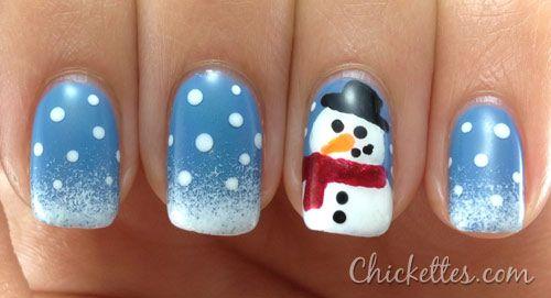Winter Snowman Nail Art