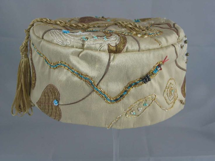 Handmade Smoking Cap - Lounging Hat - Pure Silk, With Multicoloured Embroidery Plus Beads And Embroidery