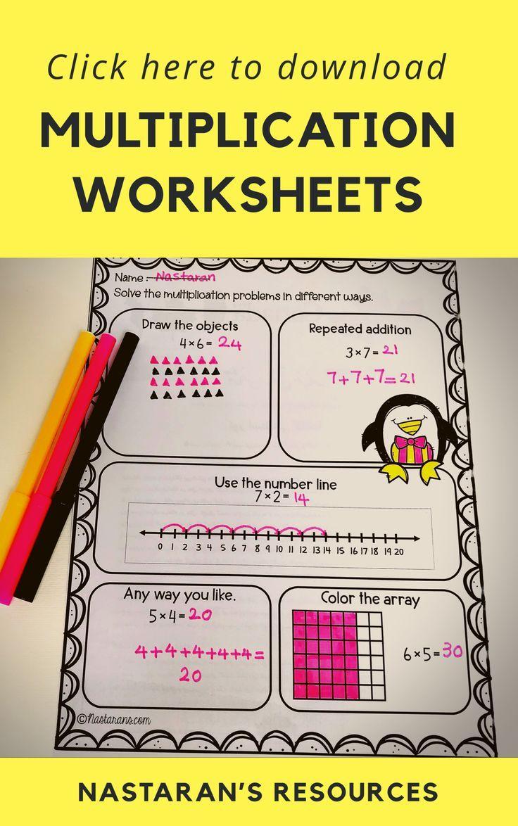 Multiplication Worksheets 3rd Grade Arrays Repeated Addition Number Line In 2020 Multiplication Worksheets Multisensory Math Third Grade Multiplication Worksheets