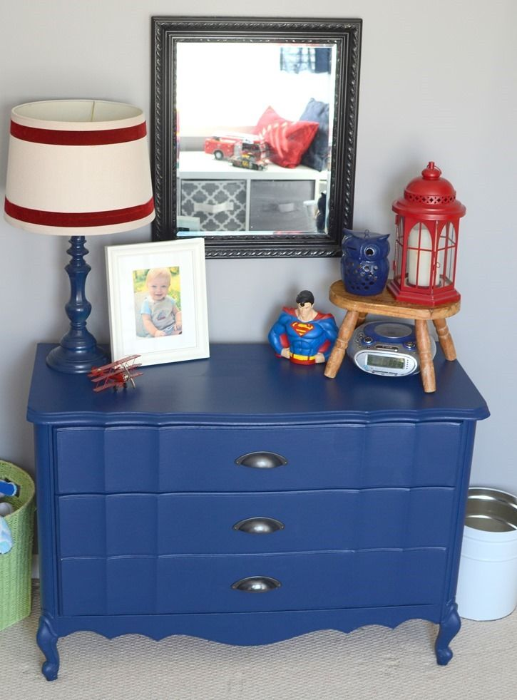 Navy blue painted dresser makeover featuring our oil rubbed bronze cup pulls at The Frugal Homemaker!