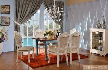 Стол обеденный Каркас, столешница, ножки - деревянный массив, плита МДФ (Е1), покрытие каркаса, ножек - акриловая краска голубого цвета, покрытие столешницы - лак