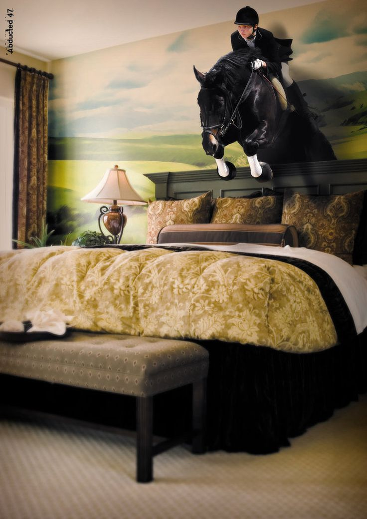 Bruno, Paolo   Bedroom W Jumping Horse U0026 Rider Above Bed DeviantArt)