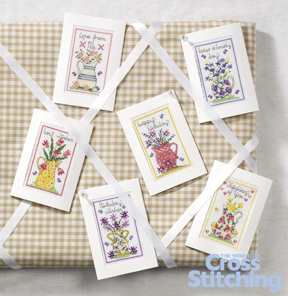 Say it with flowers with vintage-look floral cards - cross stitch patterns, from The World of Cross Stitching magazine, issue 202
