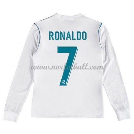 Billige Fotballdrakter Real Madrid Barn 2017-18 Cristiano Ronaldo 7 Hjemme Draktsett Fotball Langermet