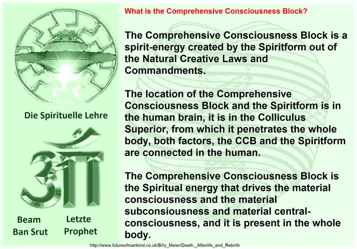 What is the Comprehensive Consciousness Block? The Comprehensive Consciousness Block is a spirit-energy created by the Spiritform out of the Natural Creative Laws and Commandments. The location of the Comprehensive Consciousness Block and the Spiritform is in the human brain, it is in the Colliculus Superior, from which it penetrates the whole body, both factors, the CCB and the Spiritform are connected in the human. The Comprehensive Consciousness Block is the Spiritual energy that