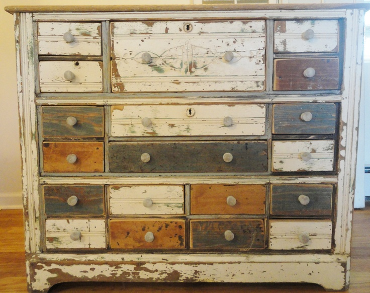 PRIMITIVE APOTHECARY Dresser Cabinet Chest Vintage 19 Drawers Antique  Distressed. $800.00, Via Etsy.