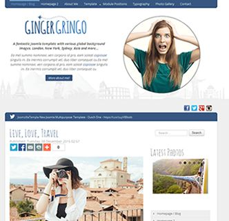Ginger Gringo Joomla template just released! This fantastic Joomla blog style template features various international backgound landmarks, multiple colour options, various fonts and social media options. It's a responsive Joomla blog template that looks great on mobile phones. As well as being super easy to use it features a quickstart package allowing you to easily replicate the demo with a few clicks.