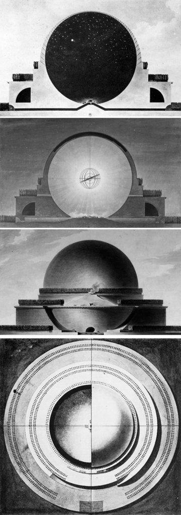 Etienne Louis Boullee_Progetto del cenotafio di Newton (1784). Progetto dai connotati utopici. Immensa sfera alta 150 m, all'interno del quale doveva essere collocata una sfera armillare (astrolabio sferico). All'esterno erano previsti tre alti basamenti su cui erano collocate file di cipressi.