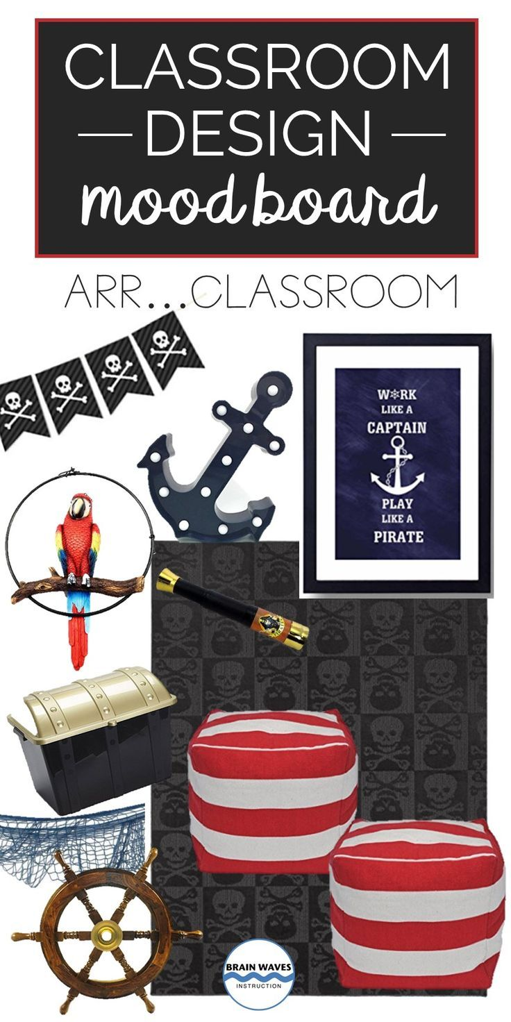 Decorating your classroom with a pirate theme?  No problem!  Check out all the pirate classroom ideas on this fun mood board!